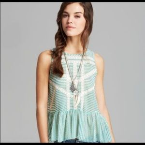 Free People • Green & White Crochet Lace Tank